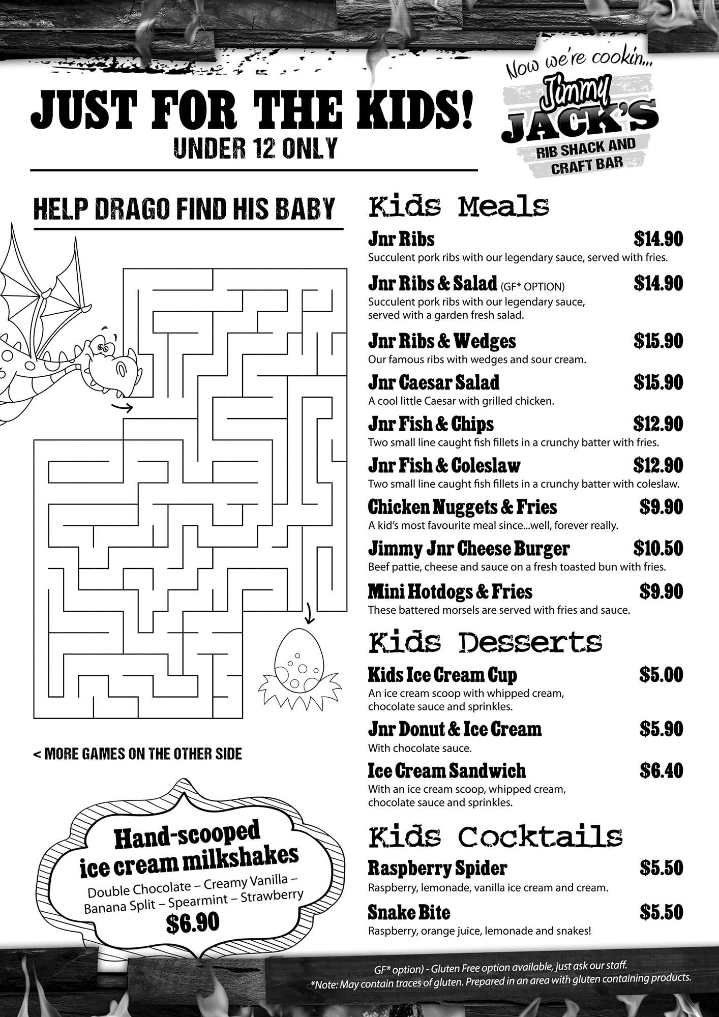 Jimmy Jacks Whangarei_Kids Menu and Puzzles_Sept18